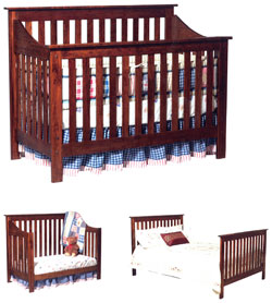 Amish Furniture : Christian Jacob Convertible Amish Crib-to-Bed