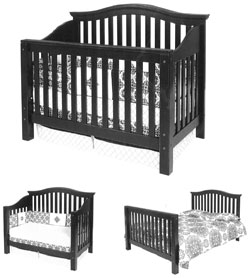 Amish Furniture : Gabrielle Convertible Amish Crib-to-Bed