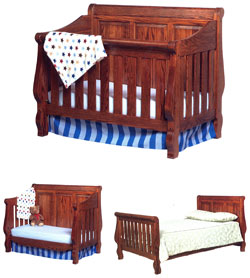 Amish Furniture : Heirloom Convertible Amish Crib-to-Bed with Raised Panel Back