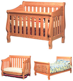 Amish Furniture : Heirloom Convertible Amish Crib-to-Bed