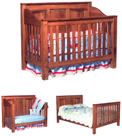 Amish Furniture : Jackson Convertible Amish Crib-to-Bed with Raised Panel Back